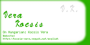 vera kocsis business card